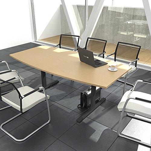 EASY Konferenztisch Bootsform 180x100 cm Buche Besprechungstisch Tisch, Gestellfarbe:Anthrazit