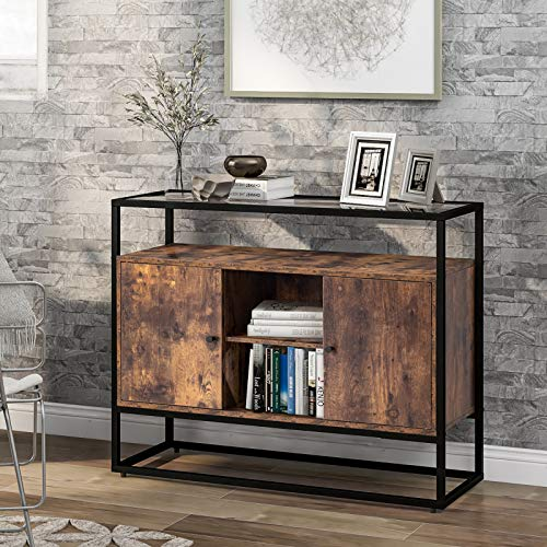belupai Aparador lateral de cocina con cristal templado para salón, cocina, comedor, dormitorio, diseño industrial, marrón y negro, 100 x 35 x 80 cm