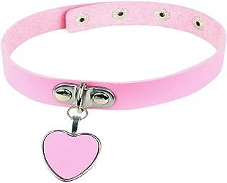 Fashion Cool Rock Style Steampunk Punk Goth Heart-Shape Pendant Link PU Leather Collar Choker Necklace(Pink)
