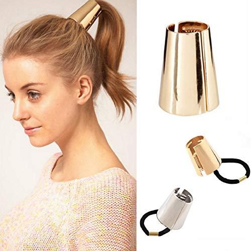 2 Stks Metaal Haar Manchet Haar Touw Paardenstaart Houder Metalen Punk Elastische Haarband Haarbanden Haarband Scrunchies Accessoires Ornament voor Dikke Haar (Goud + Zilver)