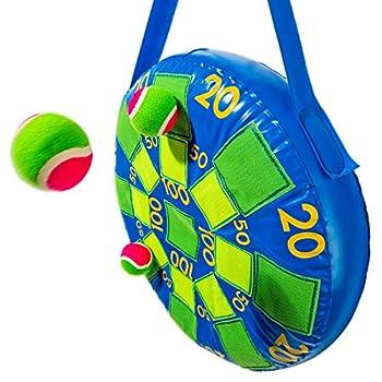 Franklin Sports Kids Dart Board - Inflatable Dart Ball Game with 3 Tennis Balls Self-Stick Darts - 20 X 20 Blue/Green