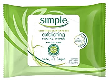 Simple Exfoliating Facial Wipes 25 Count  Pack of 3
