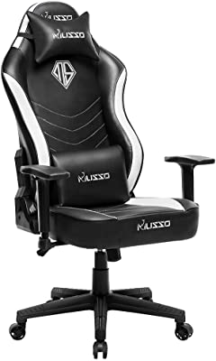 Musso High Back Gaming Chair with Wider Seat,Heavy Duty Racing Chair, Adults Adjustable Video Game Chair, Large Size PU Leather Executive Office Chair (Black)