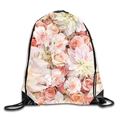 shenguang Petal Roses Blush Pink Drawstring Sports Backpack Gym Yoga Sackpack String Bag Travel Storage Sack For Women And Men Suitable For School Swim Running Beach Outdoor