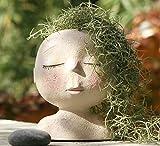AIMEBBY Face Flower Pot Head Planter Pot Succulent Planter Cute Resin Cactus Planter with Drainage Hole Cute Face