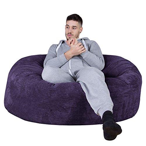 Lounge Pug®, Canapé Pouf Géant 'Mammouth', Pompon Violet