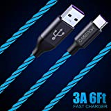 1Pack LED USB C Cable 6ft, CABEPOW 360 Visible EL Flowing Light Charging Cable, 6ft LED Lighted Up Glowing USB Type C Cable Cord for Samsung Galaxy S9 S8 Plus Note 9 8,Pixel,LG V30, Google Nintendo