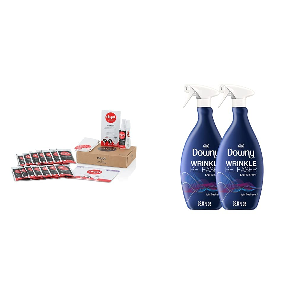 dryel - CRB-12000v2 Dryel At-Home Mega Dry Cleaner Starter Kit & Downy Wrinkle Releaser Fabric Spray, Light Fresh Scent, 67.6 Total Oz (Pack of 2) - Odor Eliminator, Fabric Refresher