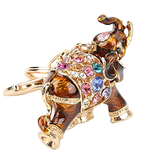 Lindo Patrón De Elefante, Llavero De Elefante Que Le Brinda Buena Suerte para Navidad(Café Profundo)