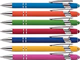 Rubberized Soft Touch | Burst of Color | Ballpoint Pen with Stylus Tip a stylish, premium metal pen, black ink, medium point (Assorted, 7)