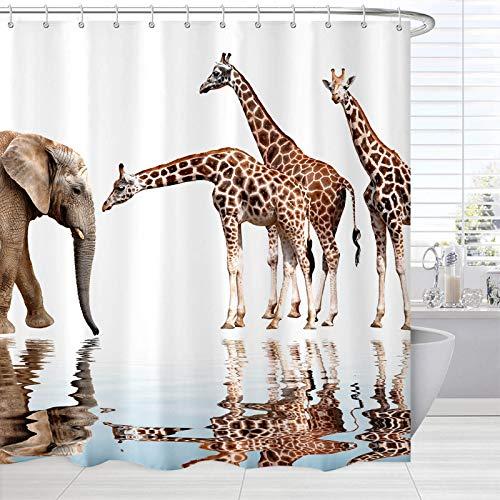 BROSHAN Safari-Tier-Duschvorhänge, afrikanische Tierwelt, Giraffe, Elefant, Reflexion im Wasser, lustiger Badvorhang, Kunstdruck, Stoff, wasserdicht, Badezimmer-Zubehör mit Haken, 72 x 72 cm
