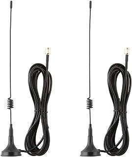 Lonnky 7dBi - Cable de extensión de Antena WiFi para Sistema de Seguridad NVR y cámaras de Seguridad IP Wi-Fi inalámbricas con Base magnética y Macho a Hembra 2 Unidades Color Negro