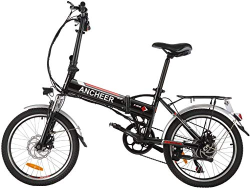"""ANCHEER Folding Electric Bike for Adults, 20"""" Electric Bicycle/Commute Ebike with 250W Motor, 36V 8Ah Battery, Professional 7 Speed Transmission Gears (Black)"""