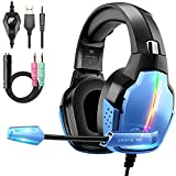 Gaming Headset PS4, Deep Bass Surround Sound Stereo Xbox One Headset, Beexcellent Gaming Headset with Microphone, LED Light & Noise Isolation, PS4 Gamer Headset Compatible with PC, PS4, Xbox One