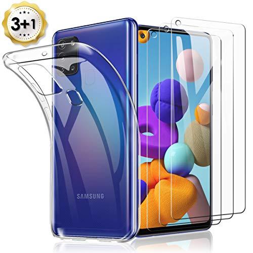 TOPACE 3 Stück Panzerglas + 1 Handyhülle für Samsung Galaxy A21S Schutzfolie, Ultra Dünn 9H Härte HD Blasenfrei Anti-Kratzer Anti-Öl wirtschaftlicher Glas Displayschutzfolie für Samsung Galaxy A21S