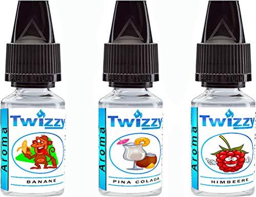 3 x 10ml Twizzy Smoozy Aroma Bundle | Banane, Pina Colada, Himbeere | Aroma für Shakes, Backen, Cocktails, Eis | Aroma für Dampf Liquid und E-Shishas | Ohne Nikotin 0,0mg | Flav Drops
