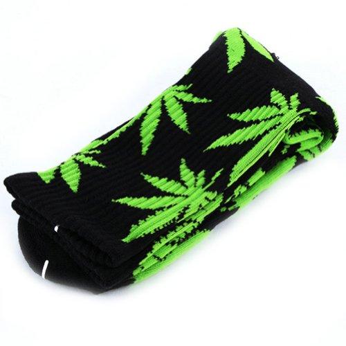 Zehui, calzini alla caviglia, in cotone, con stampa a foglie di marijuana, unisex Black+Fluorescenct Taglia unica