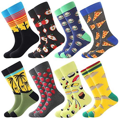 Dress Socks for Men & Women,Colorful Funny Crazy Novelty Fun Dress Socks Pack, Bonangel Cool Pattern Crew Socks Gift for Men (Yellow-pizza 1)