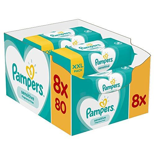Pampers Sensitive Feuchttücher 8 Packungen x 80 Stück (640 Feuchttücher), ohne Duft, für eine sanfte und weiche Reinigung