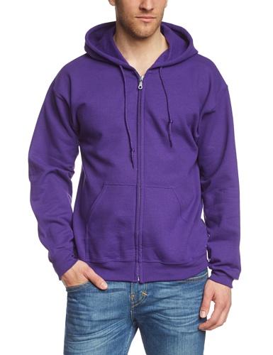 Gildan Herren Adult 50/50 Cotton/Poly. Full Zip Hooded Sewat Sweatshirt, Violett (Purple), Large (Herstellergröße: L)