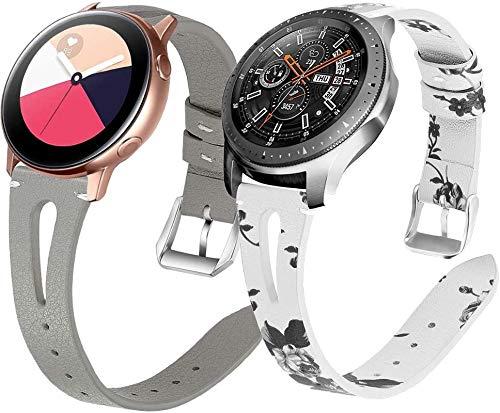 Chainfo Piel Correa de Reloj compatible con Galaxy Watch 42mm / Watch 3 41mm / Watch Active, Correa/Banda/Pulsera/Recambio/Reemplazo/Strap de Reloj (20mm, Pattern 2+Pattern 3)