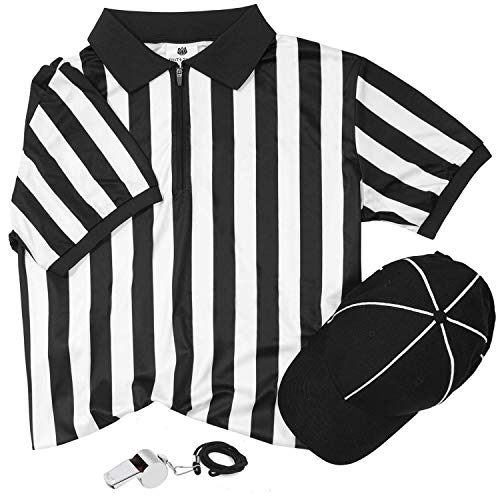 FitsT4 Men's Black & White Stripe Referee Jersey Shirts/Ref Uniform/Pro Referee Cap and Stainless Steel Whistle with Lanyard for Basketball Football Soccer