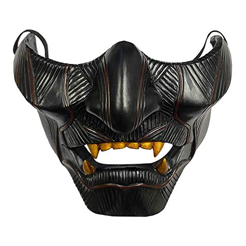 HNLSKJ Ghost of Tsushima Mask, Samurai Jin Sakai Mascara Media Cara Japonés Samurai Mask Prajna Fantasma Cosplay Máscara Kabuki Mask Oni Mask