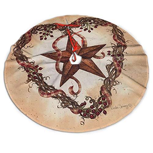 Vintage Rusty Stars Barn Star with Heart Wreath Christmas Tree Skirt Xmas Tree Skirt Christmas Decorations for Xmas Festive Holiday Ornament New Year Party