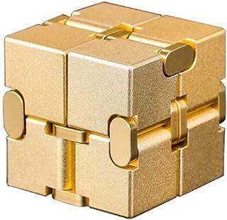 YXHUI Cubo de Rubik Infinito, descompresión Creativa de la aleación, Educativo, artefacto de descompresión, Cuadrado inalámbrico Good Mood, Good Life ( Color : Gold )