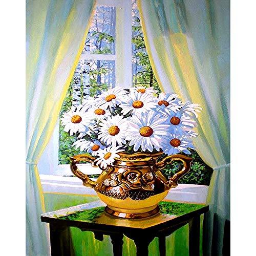 5D diamantschilderij, om zelf te maken, kruissteek, borduurwerk, diamant-kunst, vaas, vensterbank, compleet, strass, diamantschilderset, voor woonkamer, slaapkamer, huis, wanddecoratie 80×100cm Vierkante boor