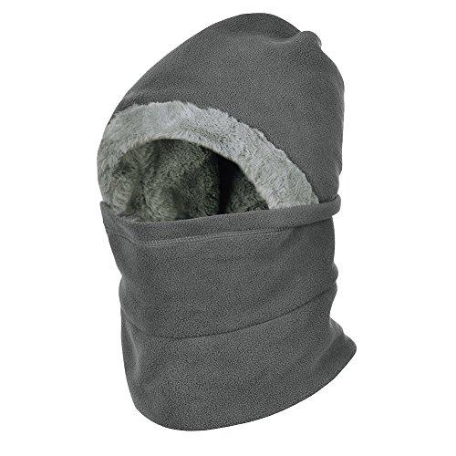 VBIGER Winter Warm Balaclavas Hat Neck Warmer Scarf Warmer Face Cover Balaclavas Skiing Cap for Men and Women Gray