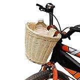 HUSHUI Cesta para Bicicleta para niños, Cesta para Bicicleta, Cesta para Manillar Delantera para niños, Cesta de Mimbre de plástico para Carga de Bicicletas, Cesta de Almacenamiento para Bicicleta