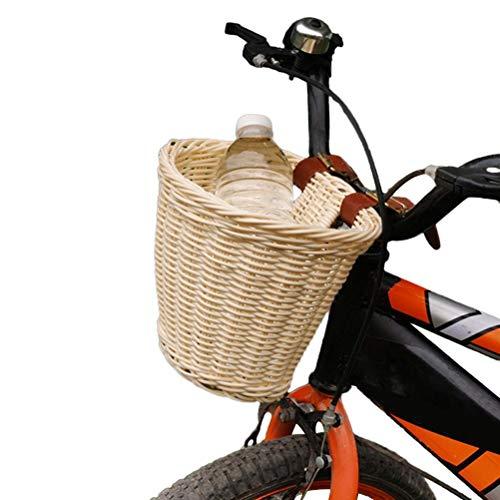 Coolga Cestino per Bici in Vimini per Bambini con Cinghie in Pelle, portaoggetti per cestello in Rattan per Manubrio Anteriore per Bicicletta