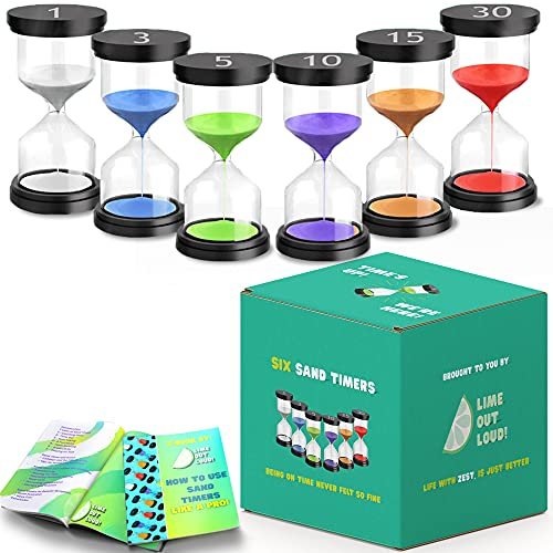 Activated Self Pack of 6 Sand Timer for Kids, 1/3/5/10/15/30 Timer for Time Management in Games,...