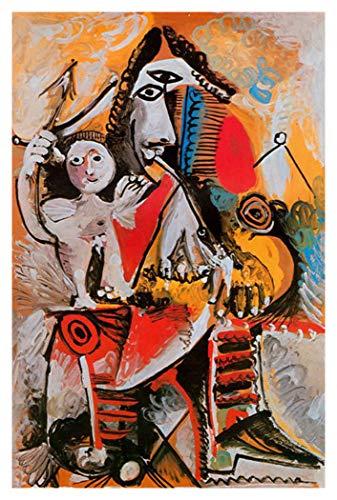 JH Lacrocon Mosquetero Y Amor 1969 de Pablo Picasso - 80X120 cm Pinturas Abstracto a Mano Reproducción sobre Lienzo Enrollado Decoración Pared para Salón
