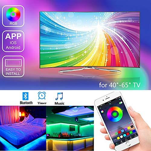 Tira Led TV 2M, Banda RGB LED alimentada por USB para TV de 40 a-60 pulgadas, Control mediante APP, impermeabilidad IP65, para Android e iOS.