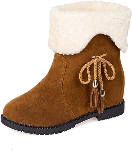 ZHRUI botas SAHNGXIAN para mujer Clásicas botas de Media Bota botas de Deslizamiento (Color   amarillo, tamaño   36)