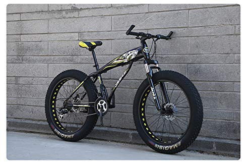 W&HH SHOP Kids/Youth/Adult Fat Tire Mountain Bike, 26-Inch Wheels, 21-Speed, Twist Shifters, Steel Frame, Mechanical Disc Brakes, Multiple Colors,Black