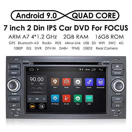In Dash - Sistema de navegación para Coche (Android 9.0, Quad Core, Doble DIN, estéreo, para Ford Focus Mondeo S-MAX, C-MAX, Galaxy Support WiFi, 4G, Bluetooth, Dab, DVR, SWC)