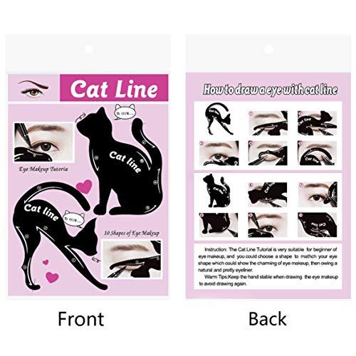 Mujeres Cat Line Eye Makeup Eyeliner Plantillas de plantillas únicas Kits de herramientas de maquillaje para ojos Elegant Eyeliner Tools - negro