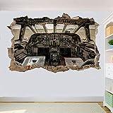 pegatinas de pared de PVC extraíbles, Avión Avión Cockpit Pegatinas De Pared Arte 3D Mural Decoración Oficina Decoración Del Hogar -50x70 cm