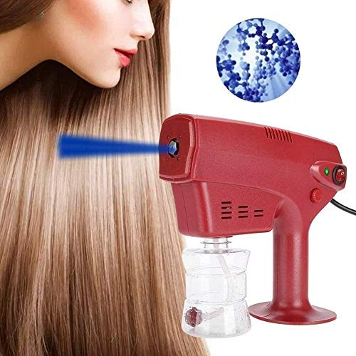 YUMUO Nano Steam Handheld Electric Rechargeable Atomizer Sprayer Disinfection Spray Machine Red, Portable Nano Steam Gun Hair Face Steamer Ultra Fine Aerosol Water Mist Trigger Sprayer for Office, Hom