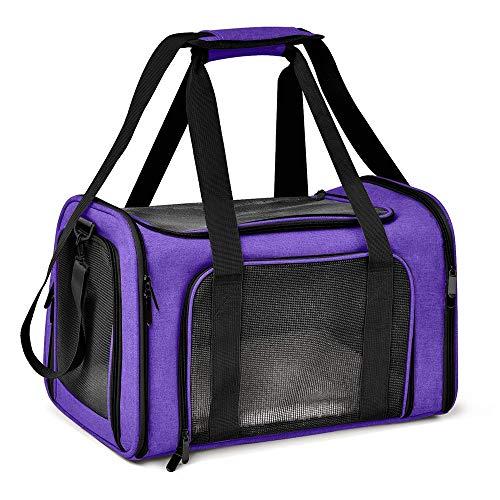Dog Backpack Soft Side Dog Backpack Cat Pet Rucksack Dog Travel Bag Small Cat Dog Transport Cat Carrier (Color : Purple, Size : 43x28x28cm)