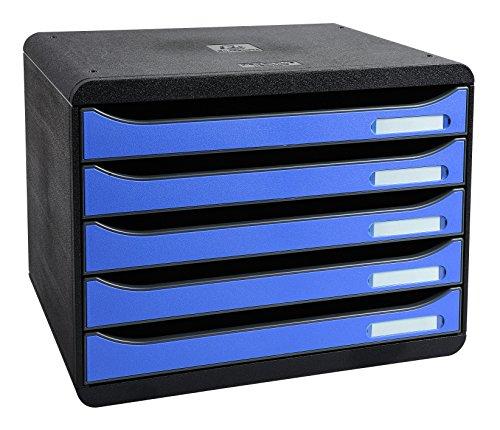 Exacompta 308779D Ablage-/Big Box Plus Querformat (27 x 35,5 x 27,1 cm, mit 5 offenen Laden, geeignet für Dokumente DIN A4, robust und belastbar) schwarz/eisblau