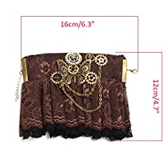 BLESSUME Steampunk Bracelet Gear Victorian Lace Accessories (J) #4