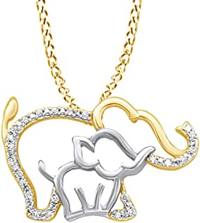 White Natural Diamond Mother & Baby Elephant Pendant Necklace in 10K Solid Gold