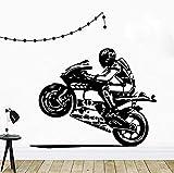 Motocicleta Conductor Etiqueta de la pared Casco Moto Adolescentes Niños Habitación Decoración Pegatinas Tatuajes de pared Vinilo Arte para el hogar Mural 58CMX71CM My88FL