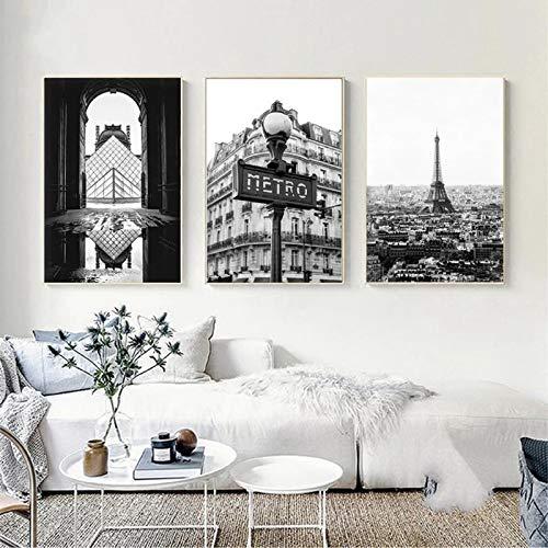 Zwart-wit Posters Eiffeltoren Parijs Fotografie Print Decor Parijs Foto Canvas Kunst Schilderij Thuis Muur Decor (70x100cm) 3st Frameloos