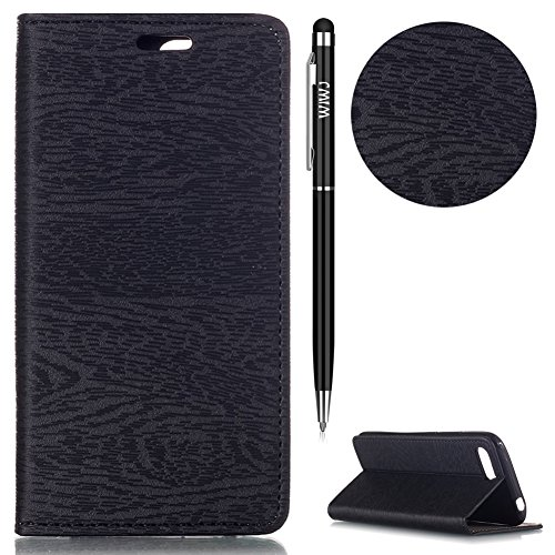 WIWJ Huawei Honor 10 Hülle,Huawei Honor 10 Leather Handyhülle, Wallet Case[Baum Linien Automatische Absaugung Leder Case] Schutzhüllen für Huawei Honor 10-Schwarz