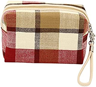 BEESCLOVER Cotton Linen Square Shape Plaid Man Women Makeup Cosmetic Bag Toiletry Travel Organizer Holder Zipper Storage Bags Red One Size